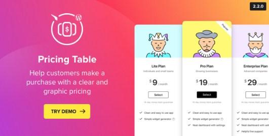 WordPress Pricing Table Plugin - Gpl Pulse